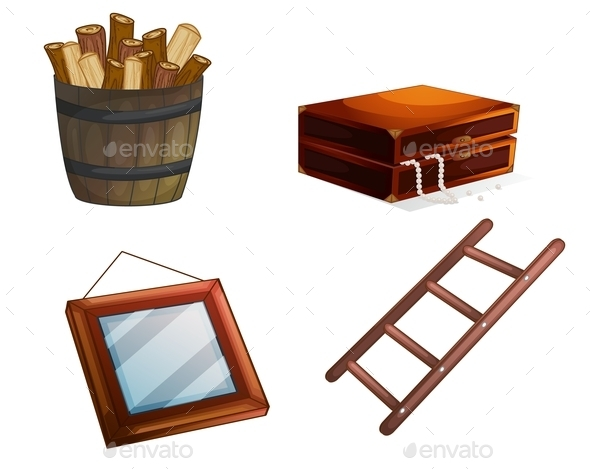 Various Wooden Objects - Man-made Objects Objects