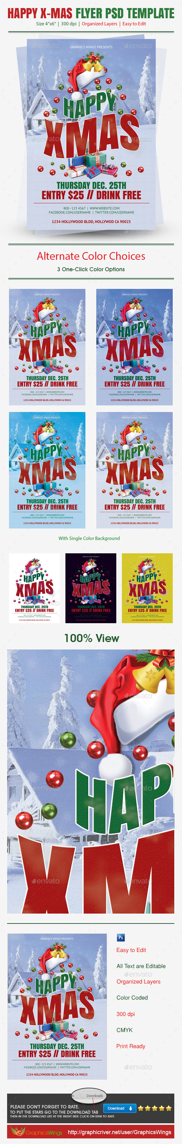 Happy Xmas Flyer PSD Template - Clubs & Parties Events