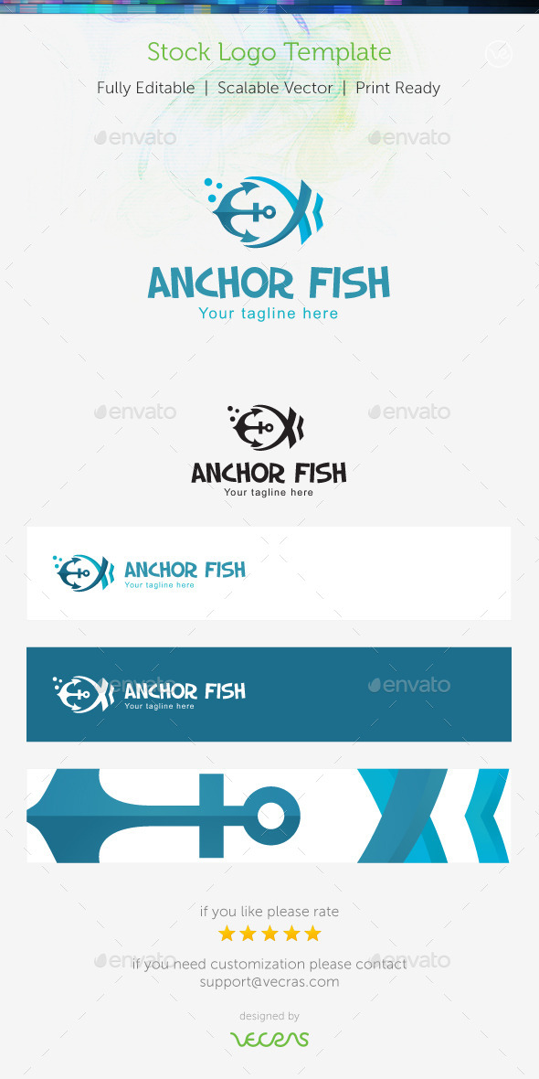 Anchor Fish Stock Logo Template  - Symbols Logo Templates
