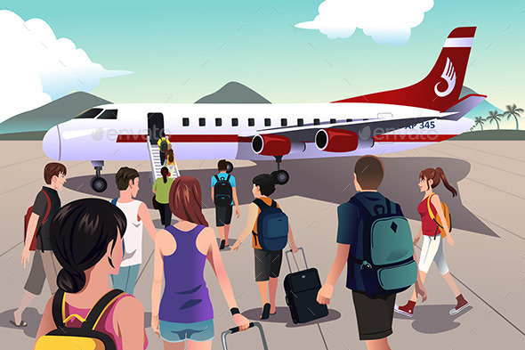 Tourists Boarding on a Plane - Travel Conceptual