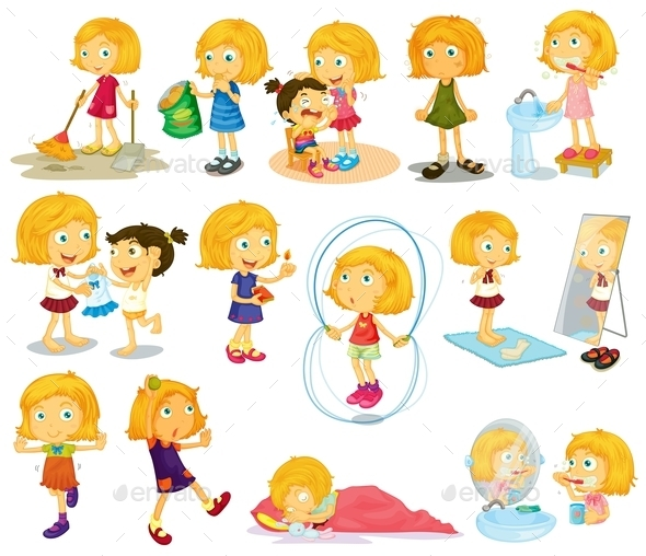 Young Blondie's Daily Activities - People Characters