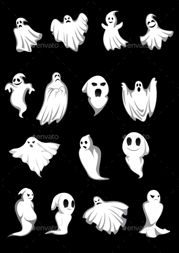 White Halloween Ghosts - Halloween Seasons/Holidays