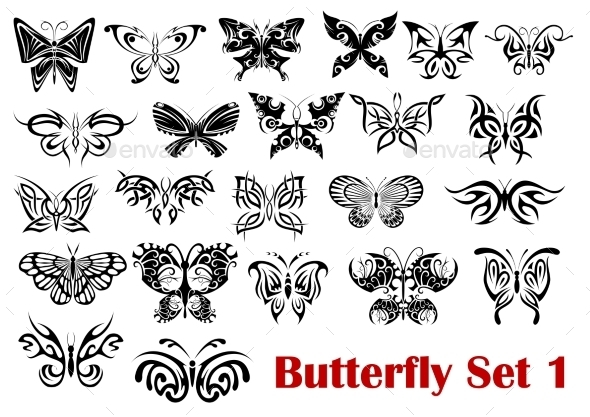 Butterfly Silhouette Icons  - Decorative Symbols Decorative
