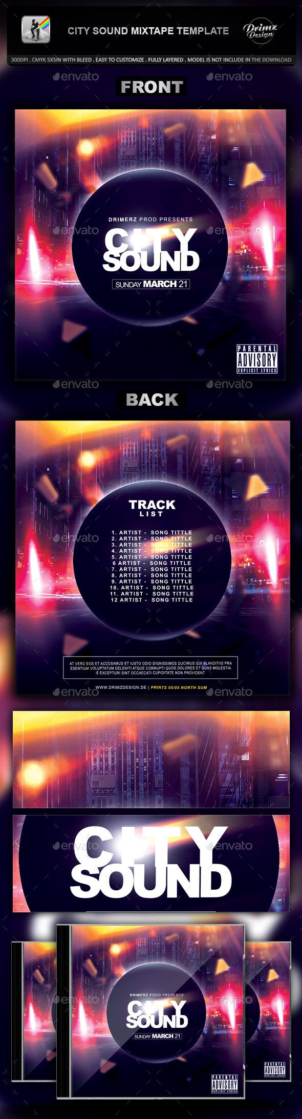 City Sound Mixtape Template - CD & DVD Artwork Print Templates
