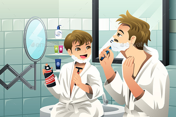 Father and Son Shaving Together - People Characters