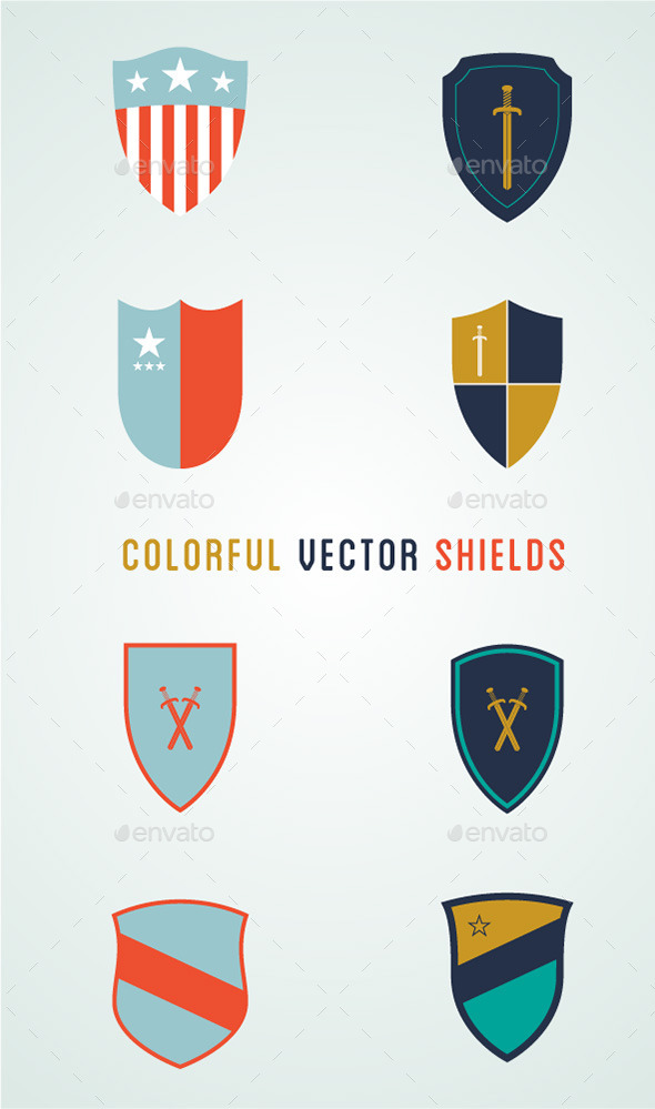 8 Colorful Vector Shields - Miscellaneous Characters