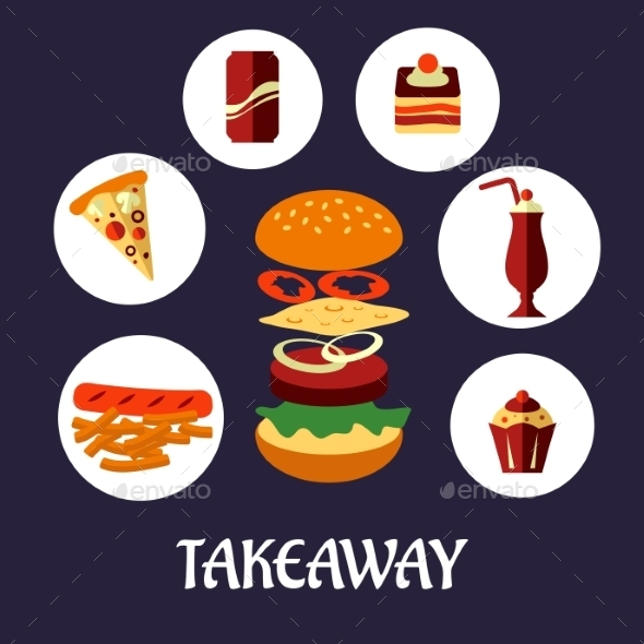 Takeaway Food Flat Poster Design - Food Objects