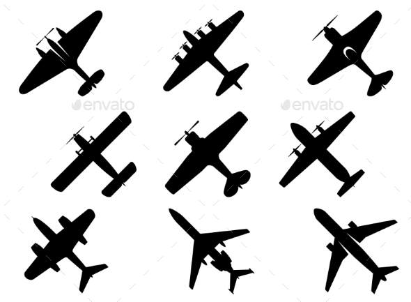 Black Aircraft Silhouette Icons - Travel Conceptual
