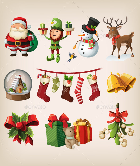 Set of Christmas Characters and Decorations - Christmas Seasons/Holidays