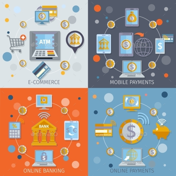 Mobile Banking Icons Flat - Technology Conceptual