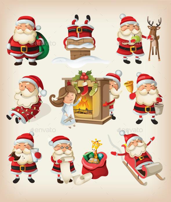 Set of Santa Claus at Christmas - Christmas Seasons/Holidays