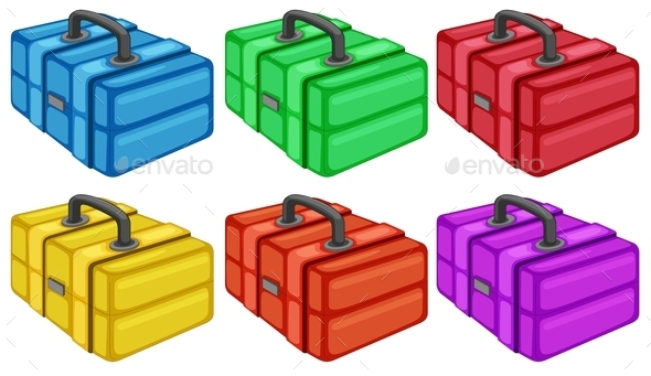 Six Colorful Boxes - Man-made Objects Objects