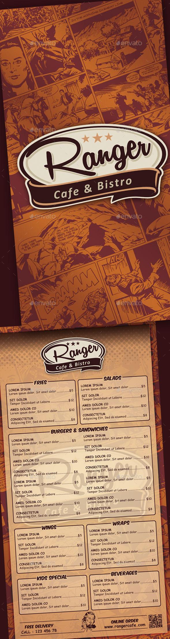 Comic Art Style Cafe Menu - Restaurant Flyers
