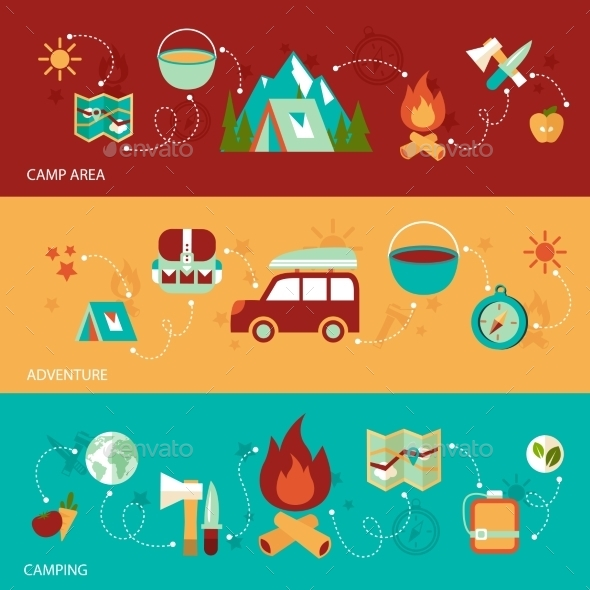 Camping Flat Banner - Travel Conceptual