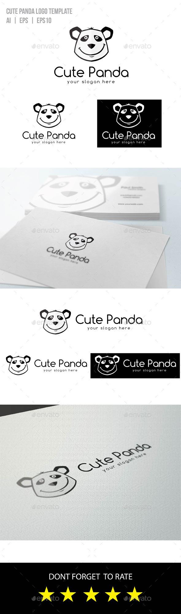 Cute Panda Logo - Animals Logo Templates