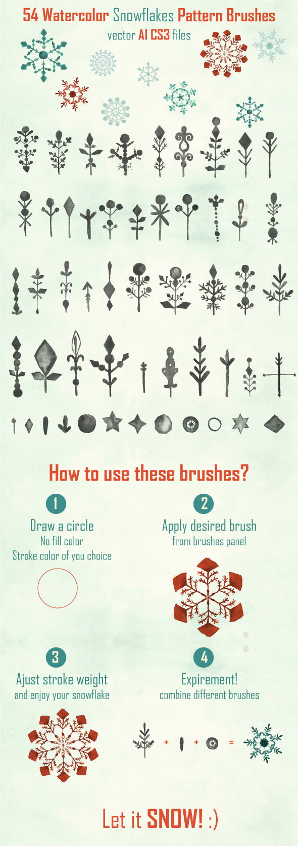 Watercolor Vector Snowflakes Pattern Brushes - Brushes Illustrator
