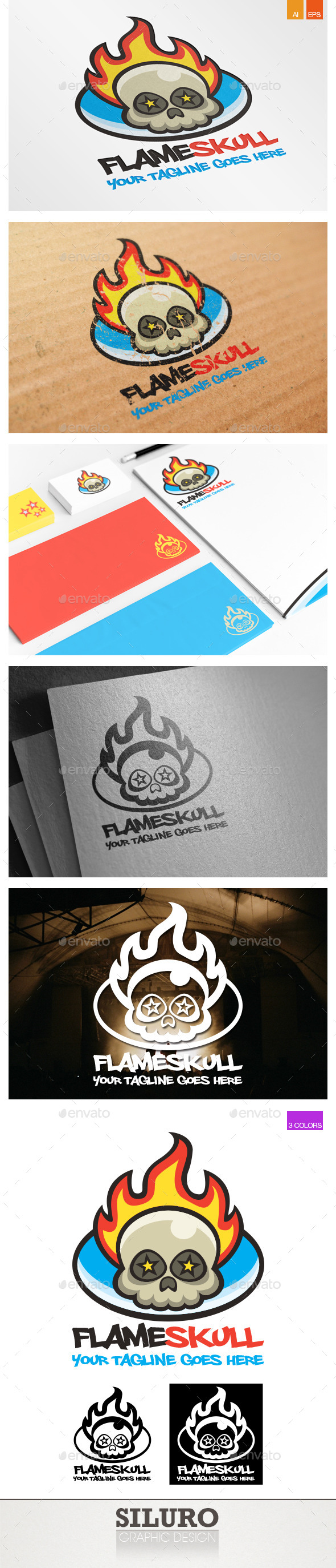 Flame Skull Logo - Symbols Logo Templates