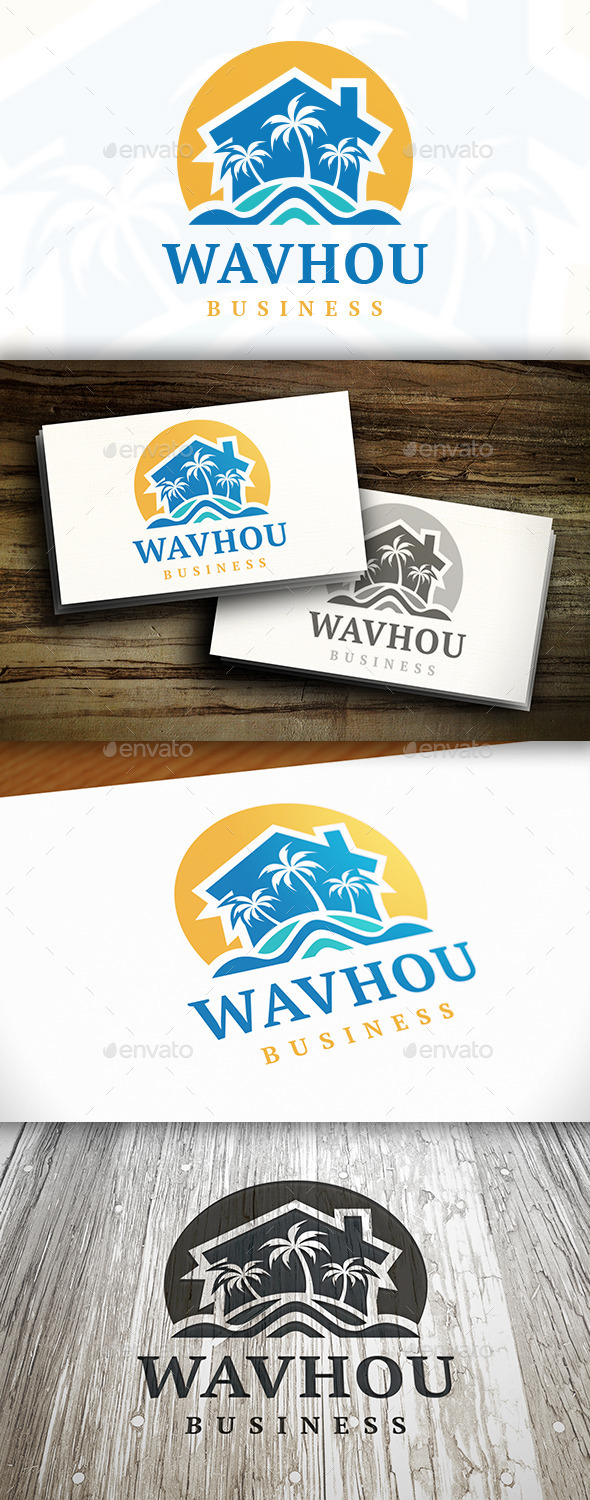 Beach Resort Logo Template - Buildings Logo Templates