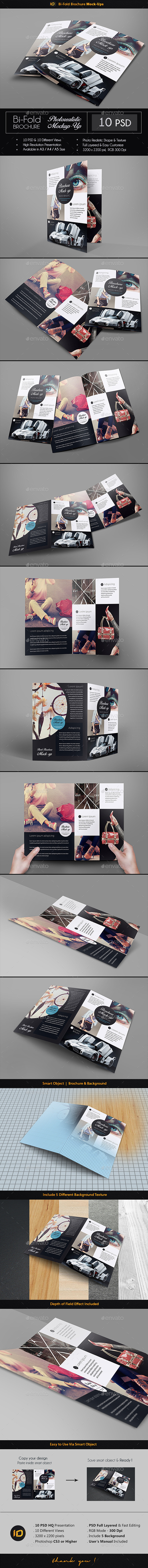 Realistic Bi-Fold Brochure Mock-Up - Brochures Print