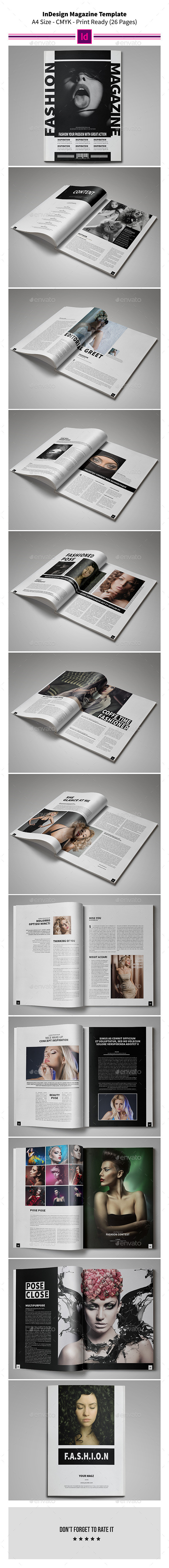 Fashion InDesign Magazine Template 26 Pages - Magazines Print Templates
