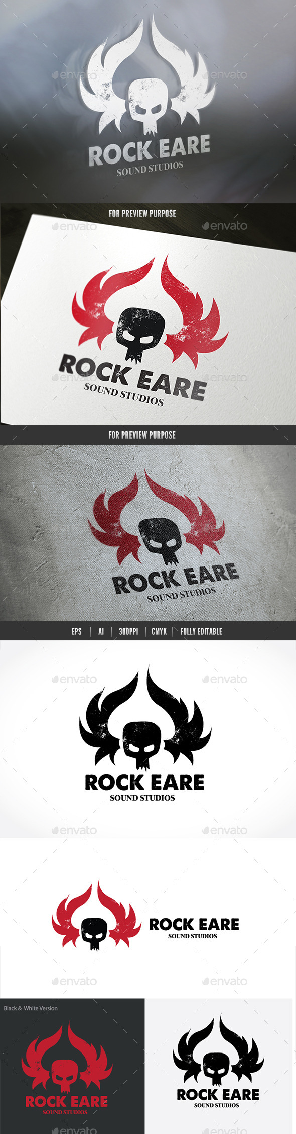 Rock Ear Sound Studio - Humans Logo Templates