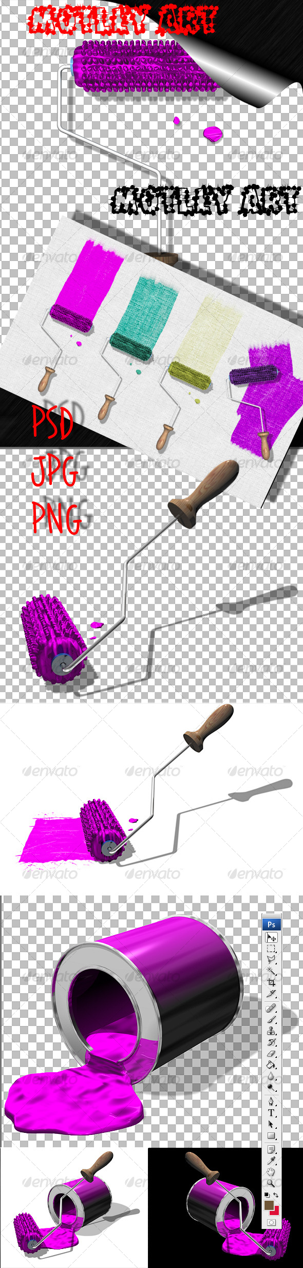 Paint Roller and Paint - 3D Backgrounds