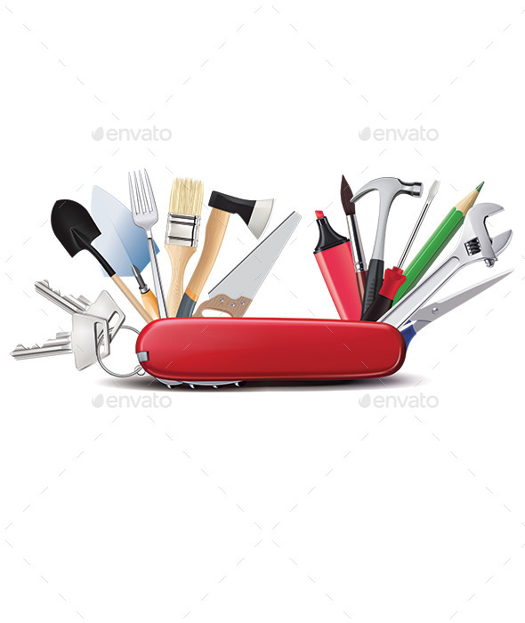 Knife with Tools - Man-made Objects Objects