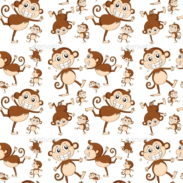 Seamless Monkey - Animals Characters