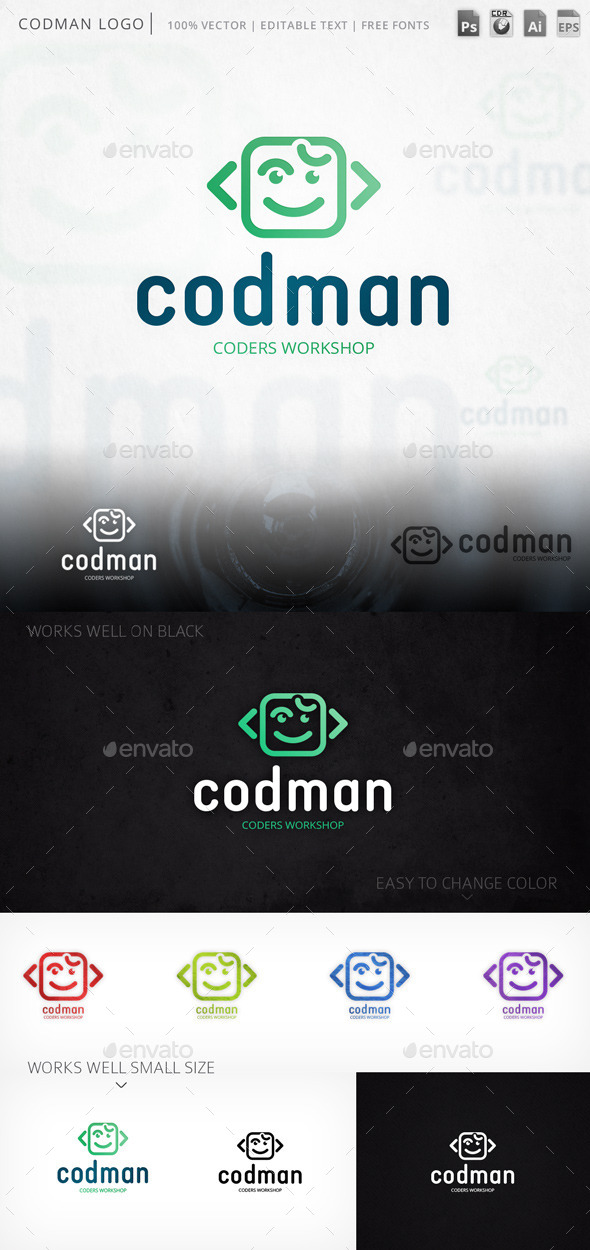 Codman Smiley Face Logo Template - Humans Logo Templates