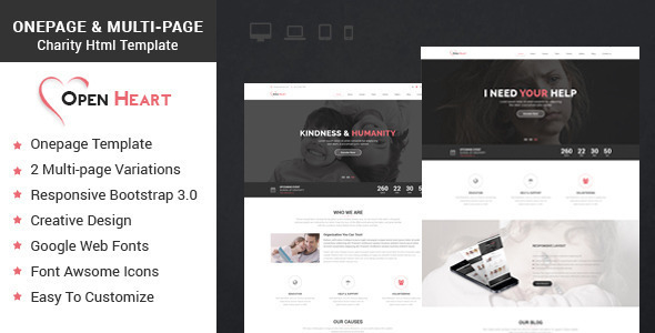Open Heart Onepage & Multipage Charity Template