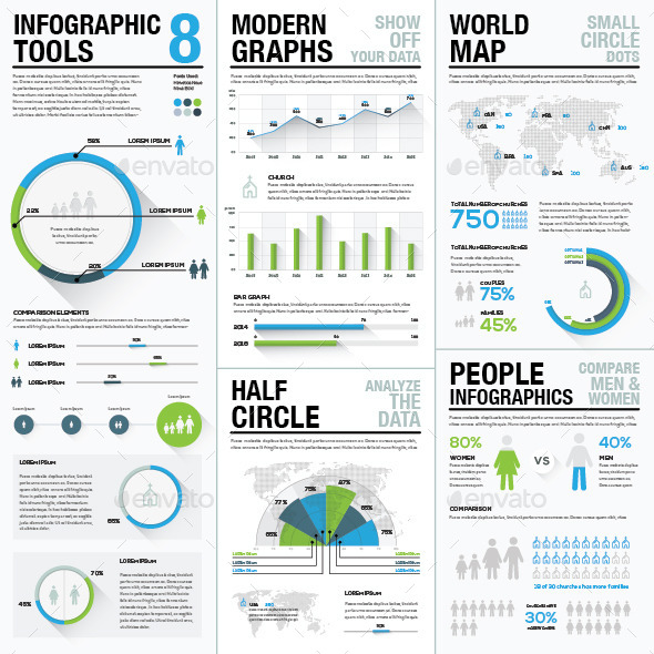 Infographic Tools 8 Business Elements Recolored - Infographics