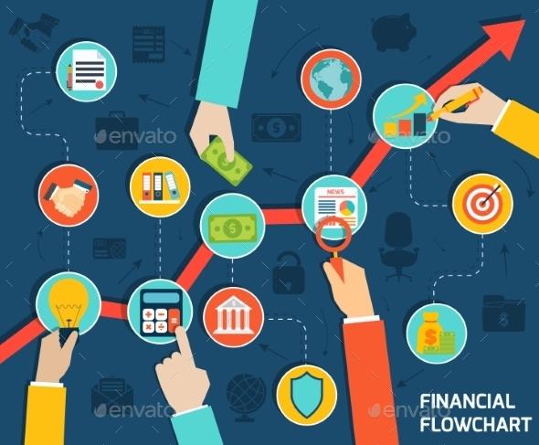 Business Hands Financial Flowchart - Concepts Business