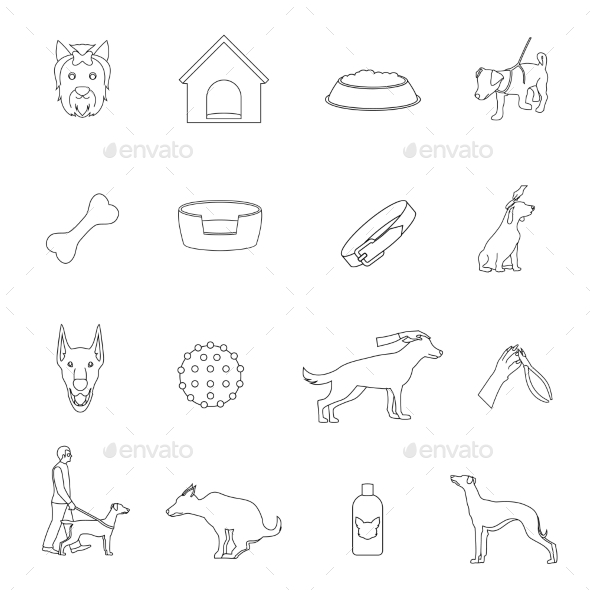 Dog Icons Outline - Web Technology