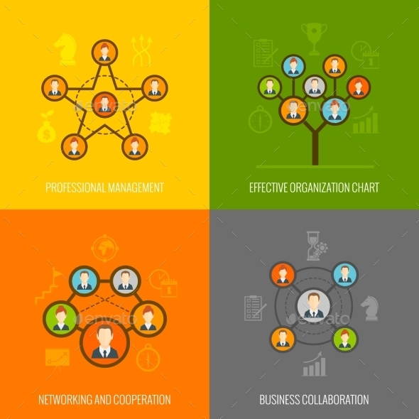 Connected People Flat Icons Set - Concepts Business