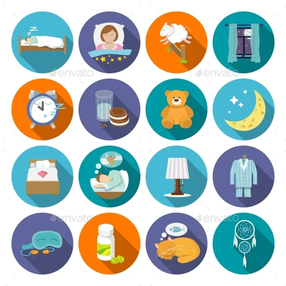 Sleep Time Icons Flat - Web Elements Vectors