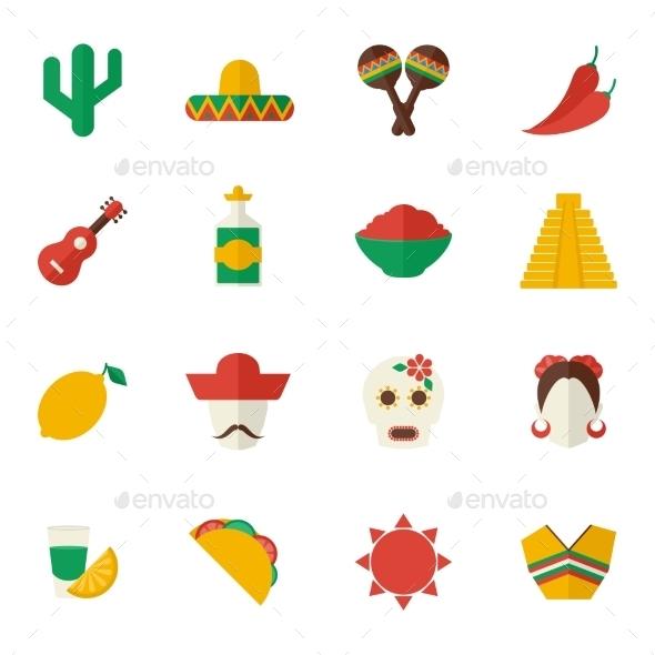 Mexico Flat Icons Set - Travel Conceptual