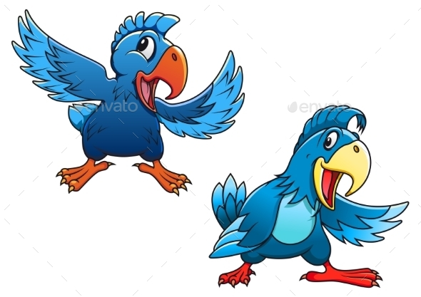 Blue Cartoon Parrot Birds - Animals Characters