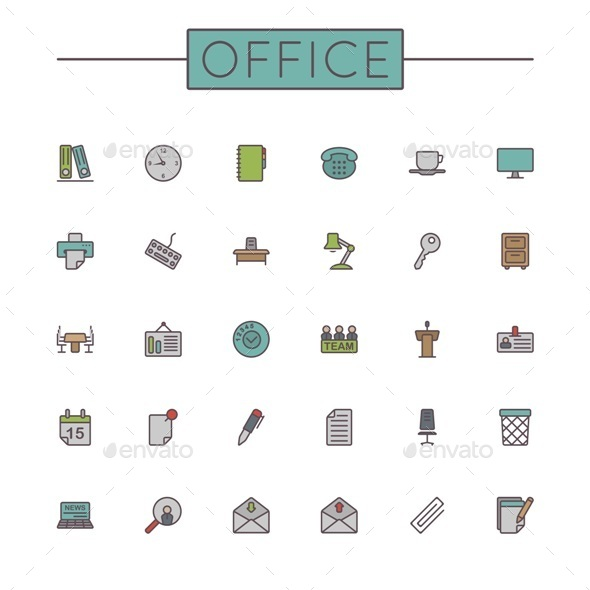 Vector Colored Office Line Icons - Business Icons
