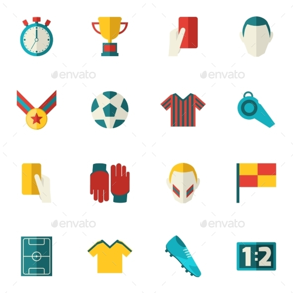 Soccer Icons Flat - Sports/Activity Conceptual