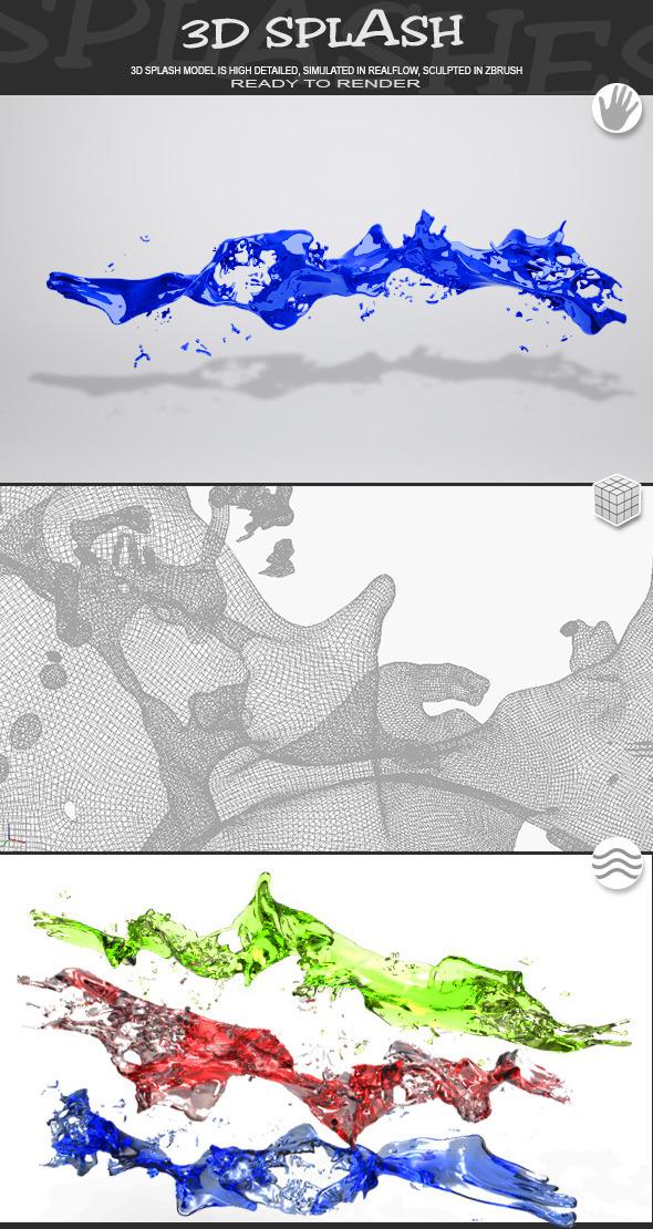 HD Water Paint Liquid Splash 13 - 3DOcean Item for Sale