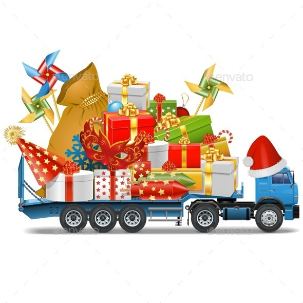 Trailer with Christmas Gifts - Christmas Seasons/Holidays