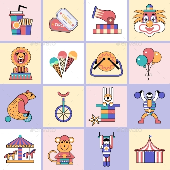 Circus Icons Set Flat Line - Web Technology