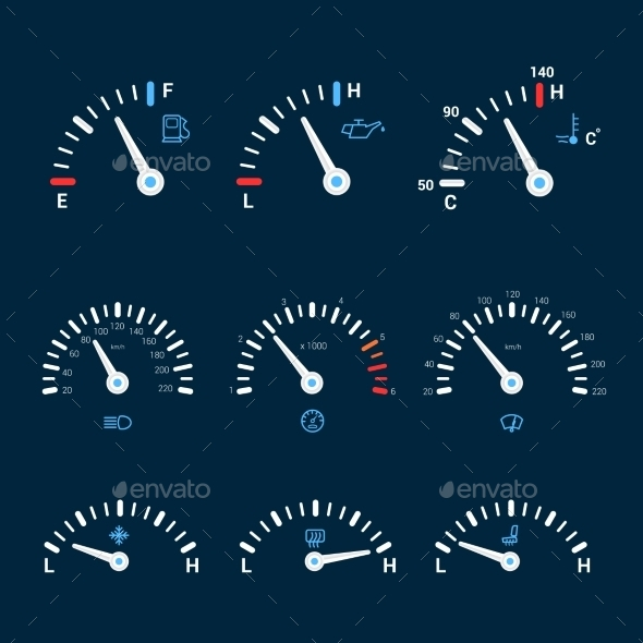 Speedometer Interface Icons - Technology Conceptual