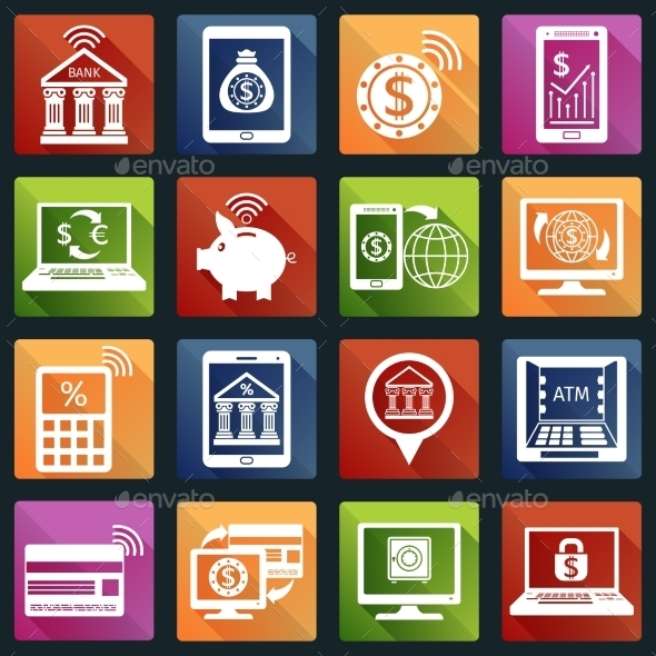 Mobile Banking Icons White - Web Elements Vectors