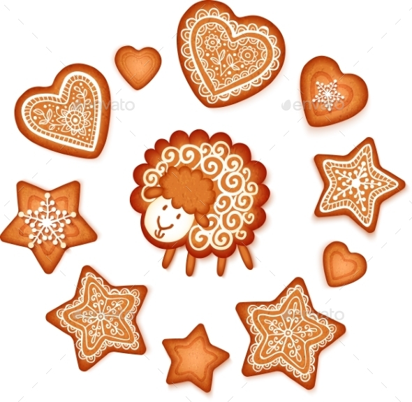 Gingerbread Stars, Hearts and Sheep - Christmas Seasons/Holidays