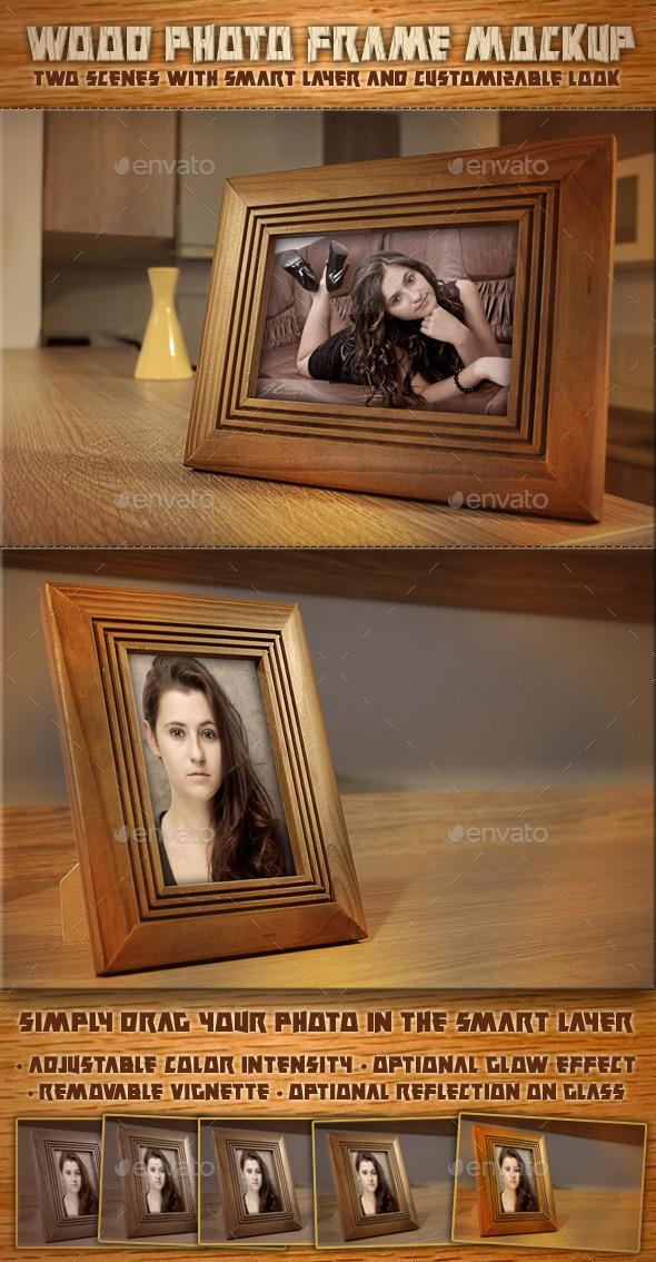 Wood Photo Frame Mockup V.1. - Photo Templates Graphics
