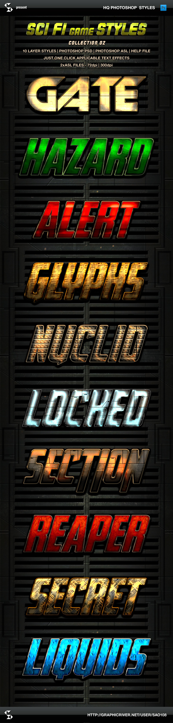 Sci-fi Game Styles - Collection 2 - Text Effects Styles