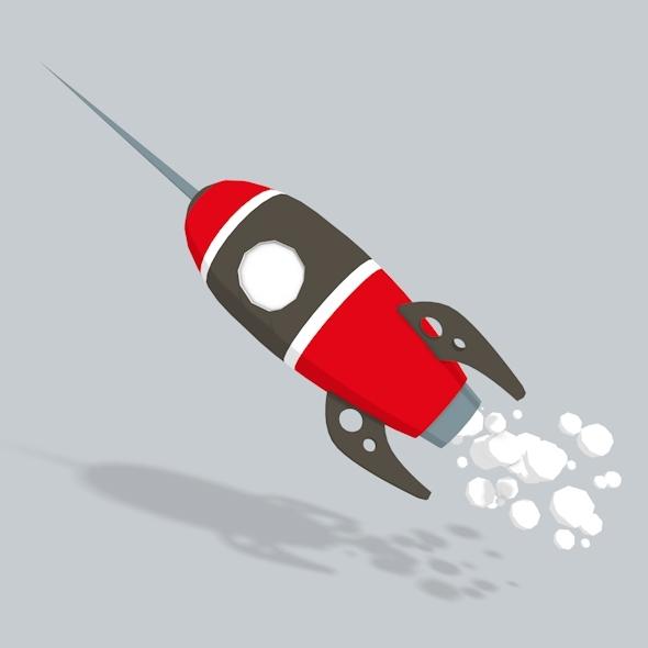 3D Rocket Low Poly - 3DOcean Item for Sale