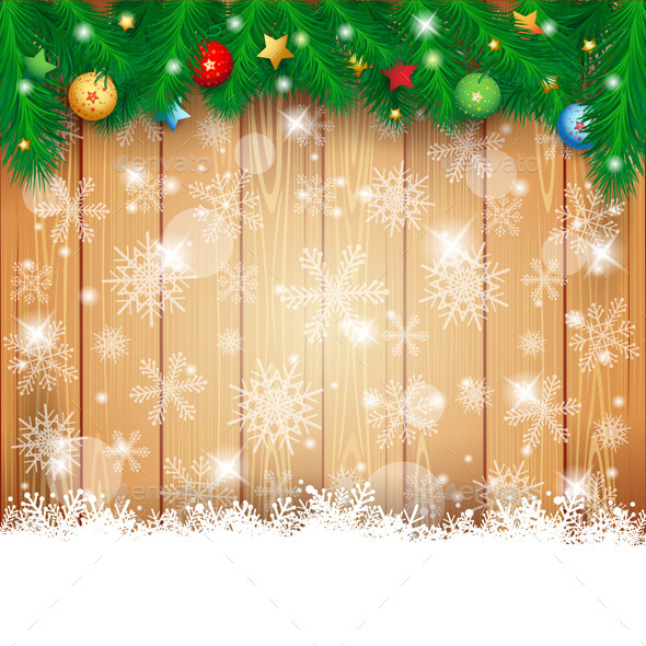 Christmas Background with Wood and Fir - Christmas Seasons/Holidays