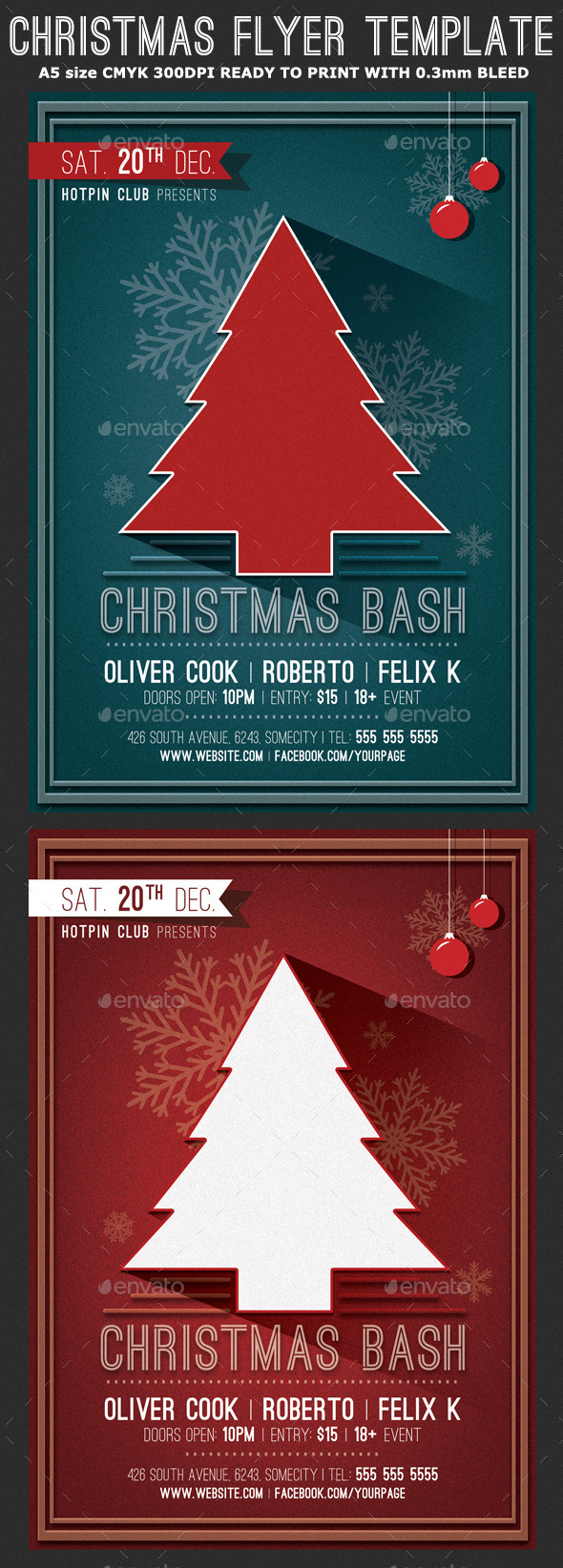 Minimal Christmas Party Flyer Template - Holidays Events